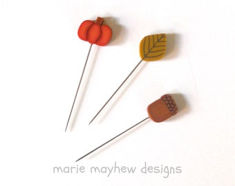 NEW! HARVEST mini-pins set, Just Another Button Company, decorative clay pins, acorn pin, quilting accessories, sold as a set of three pins