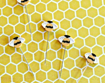 CLAY BEE PINS, Just Another Button Company.  bee pins, quilting pins, pincushion decor, quilting gifts, small country bee pins