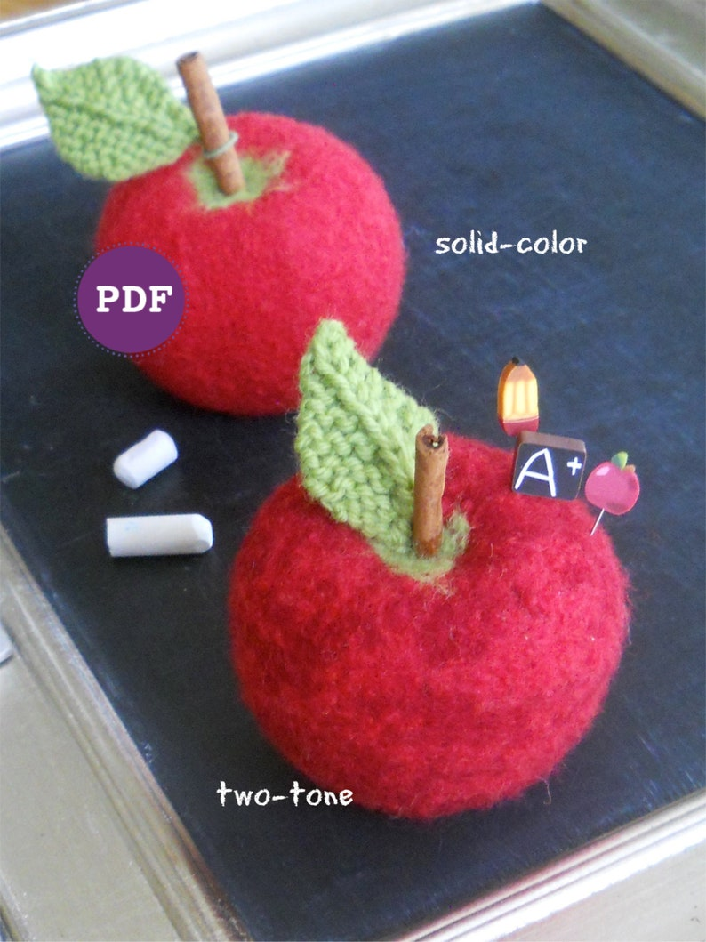 NEW PDF-PATTERN apple pincushion design back to school image 0