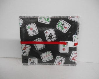"""New! My Exclusive Design~Mah Jongg themed Tri-Fold Wallet w/Crystal Clear Vinyl for """"Rules & Hands"""" large card"""