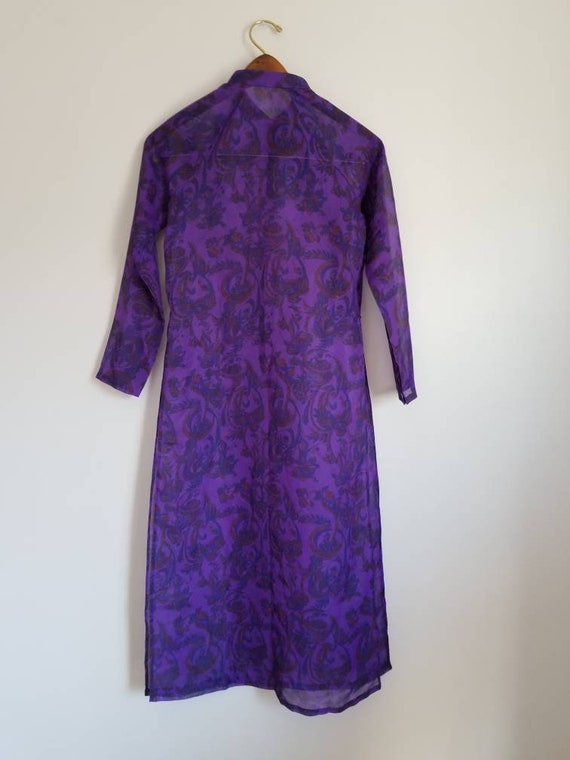 Vintage purple sheer red paisley floral Cheong-sam