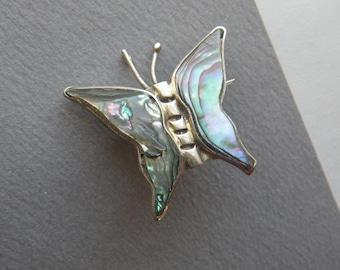 Artisan Design 25.8 grams Vintage .950 Silver  Butterfly Brooch Pin Taxco Alicia de la Paz Turquoise Onyx