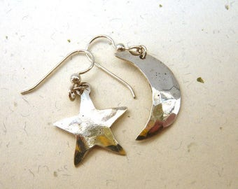 Hammered Sterling Silver Earrings - Dangly Moon & Star - Signed AP