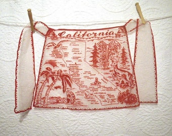 Red Flocking on Sheer White 1960s California Map Childrens Apron