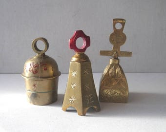 """Three Bells of Sarna India - Etched Brass - """"Be Gay"""""""