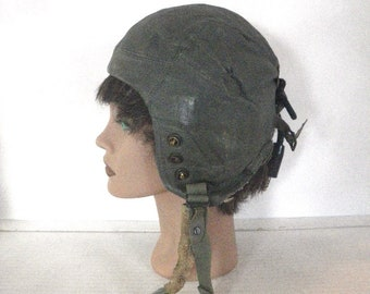82278da73f84 WWII USAF Type A-13 Leather Flying Helmet Headset with Receivers Size Large  Named
