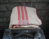 Antique Homespun Center Seam Linsey Woolsey Wool Blanket - Cream with Red Pink Stripes and Edging