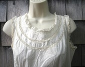 Romantic Antique Long White Cotton Camisole Dress Nightgown - Buttons Up Back - Sleeveless - Broderie Anglaise Lace