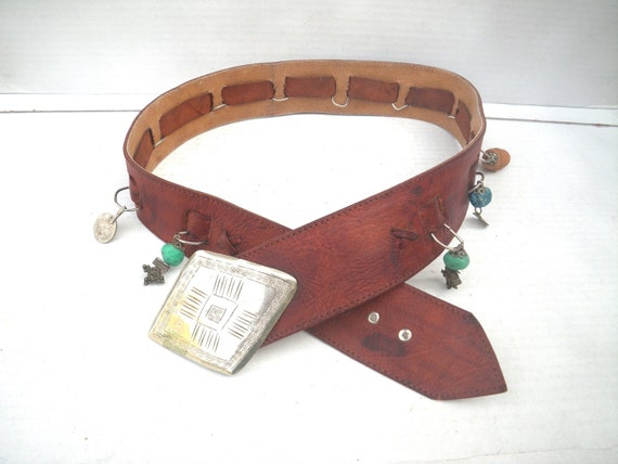 Moroccan Boho Wide Leather Belt with Amulets, Cha… - image 1