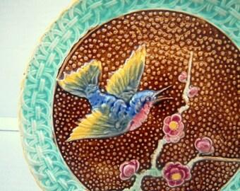Vintage Majolica Pedestal Cake Stand - Bird & Cherry Blossoms - Ceramic Pottery Plate