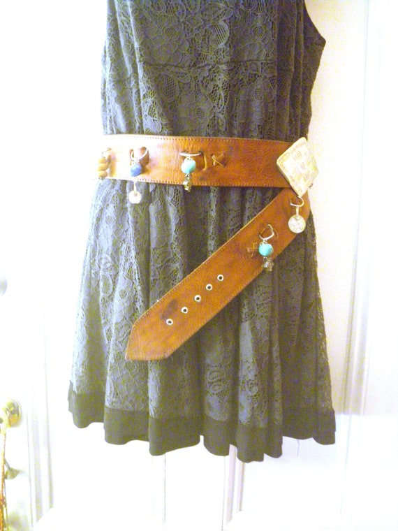 Moroccan Boho Wide Leather Belt with Amulets, Cha… - image 4