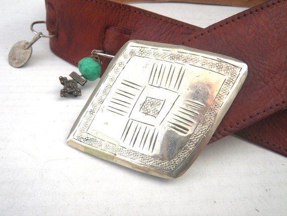 Moroccan Boho Wide Leather Belt with Amulets, Cha… - image 3