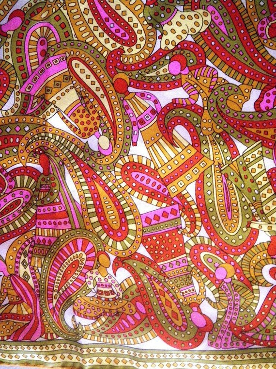 1960s Psychedelic Paisley Givenchy Silk Scarf - Mi
