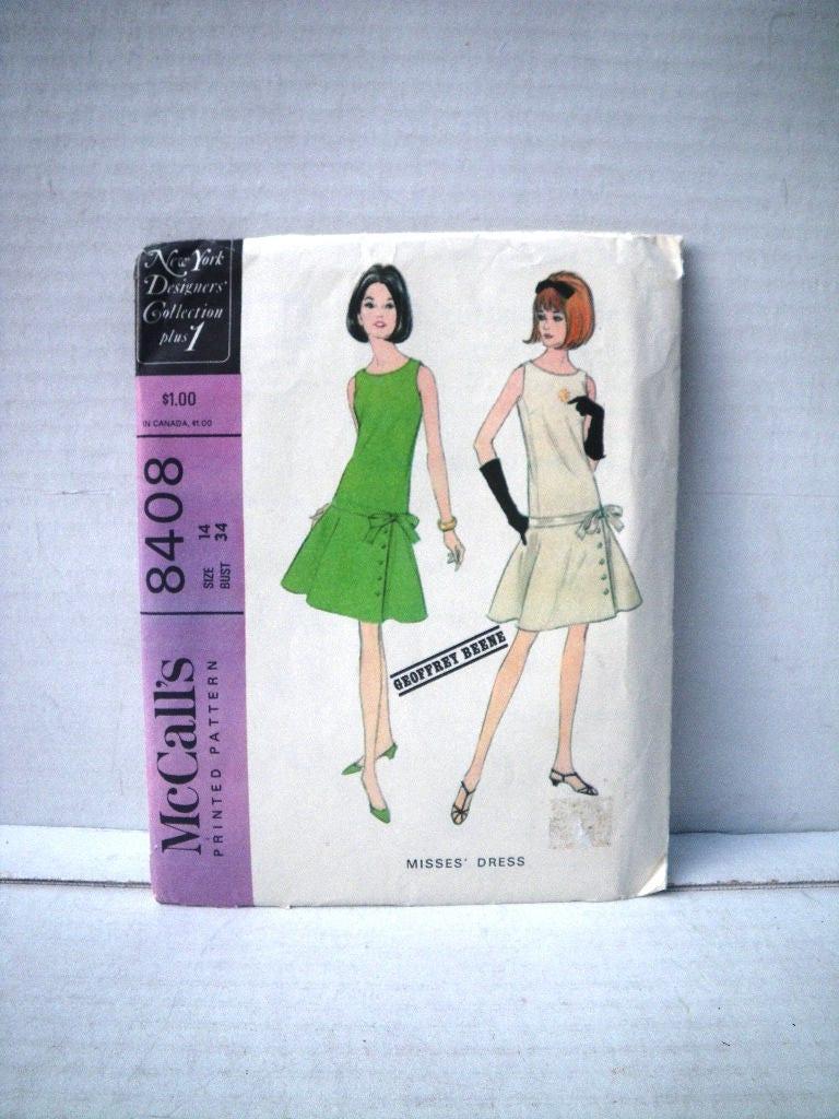 e42837330c5 1966 Geoffrey Beene Dress Pattern McCalls 8408 Bust 34 Waist