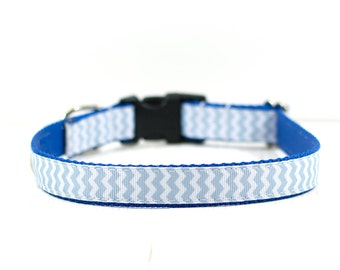 "3/4"" Medium Blue and Gray Chevron Dog Collar, Chevron Collar, Boy Dog Collar, Dog Accessories, 12-19"""