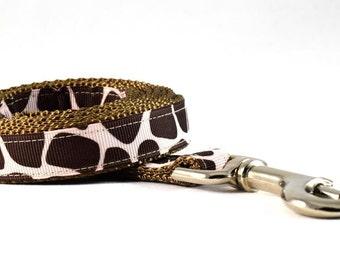 "3/4"" Animal Print Leash, Giraffe Print Dog Leash, Brown Dog Leash, Brown Animal Print Leash, Dog Leashes On Sale, 6FT."
