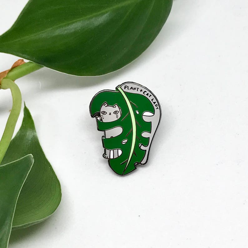 Plant and Cat Lady Enamel Pin Cat lover Plant Lover Pin image 0