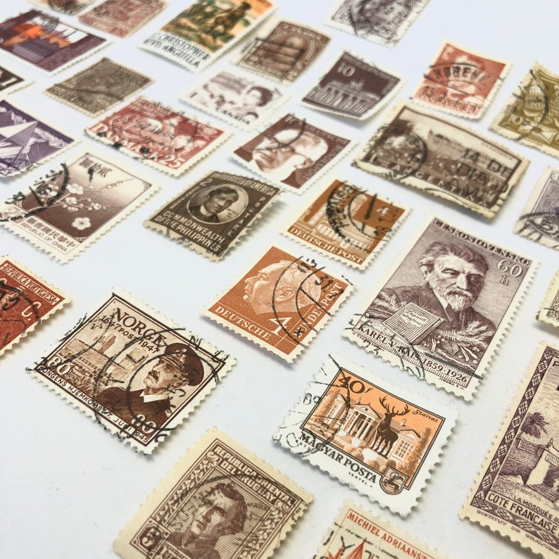 Set of 8 BEIGE Vintage Foreign Postage Stamps Used Stamps image 0