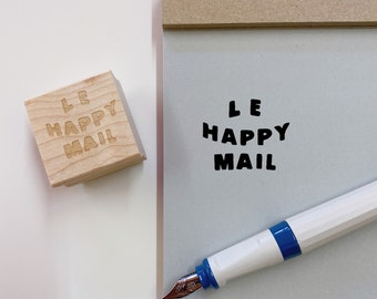 Le Happy Mail Stamps, Rubber Stamps, Bullet Journal Stamps, Organization Stamps, Penpal Stamp, Handmade, Girl, Kawaii, Cute, Illustrated