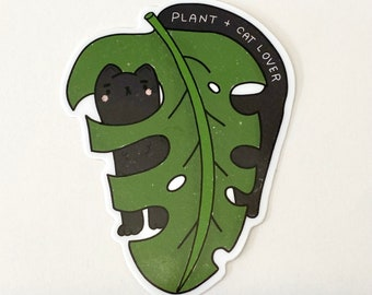 Cat and Plant Lover -Vinyl Sticker, Cats and Plants sticker, die cut sticker, laptop decal, food decal, cute stickers, best friend gift