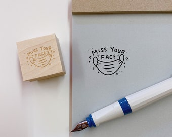 Miss Your Face Stamps, Covid, Face Mask, Rubber Stamps, Bullet Journal Stamps, Organization Stamps, Penpal Stamp, Handmade, Illustrated