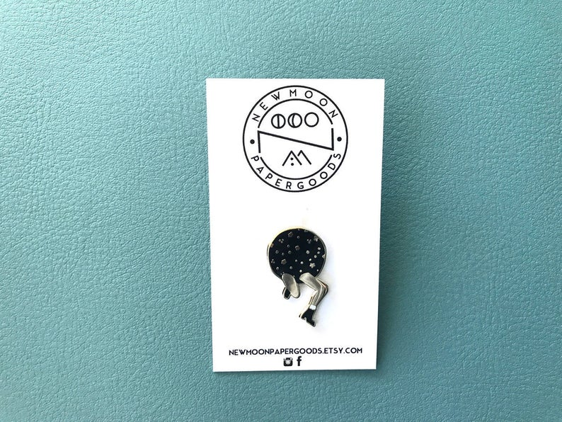 New Beginings Getting out of your space Space Legs Enamel Pin in Gold