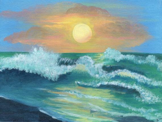 Au Dessus De La Mer Peinture Acrylique Paysage Marin Etsy