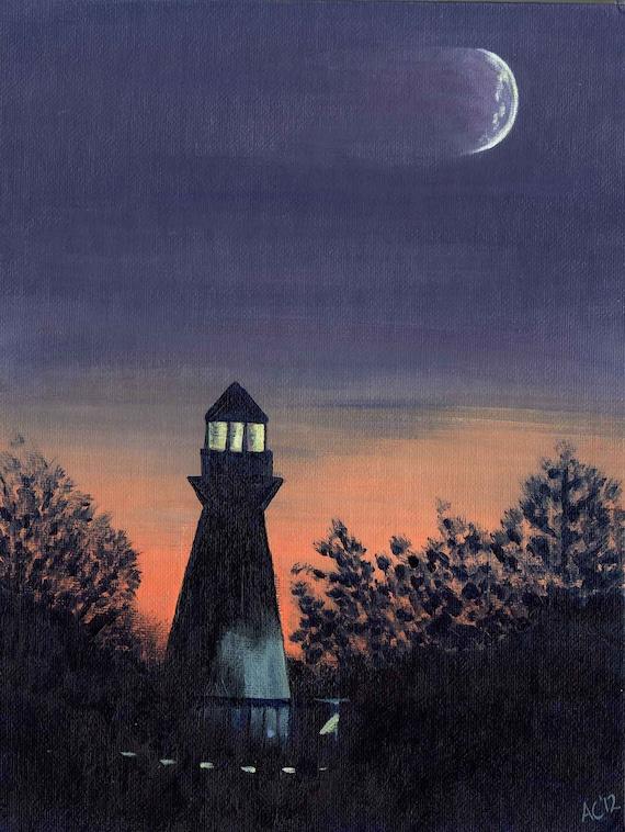 Lighthouse at Night - Acrylic Landscape Painting