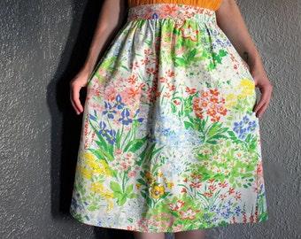 Vintage 50s Knee-Length Floral High Waist Circle Skirt L