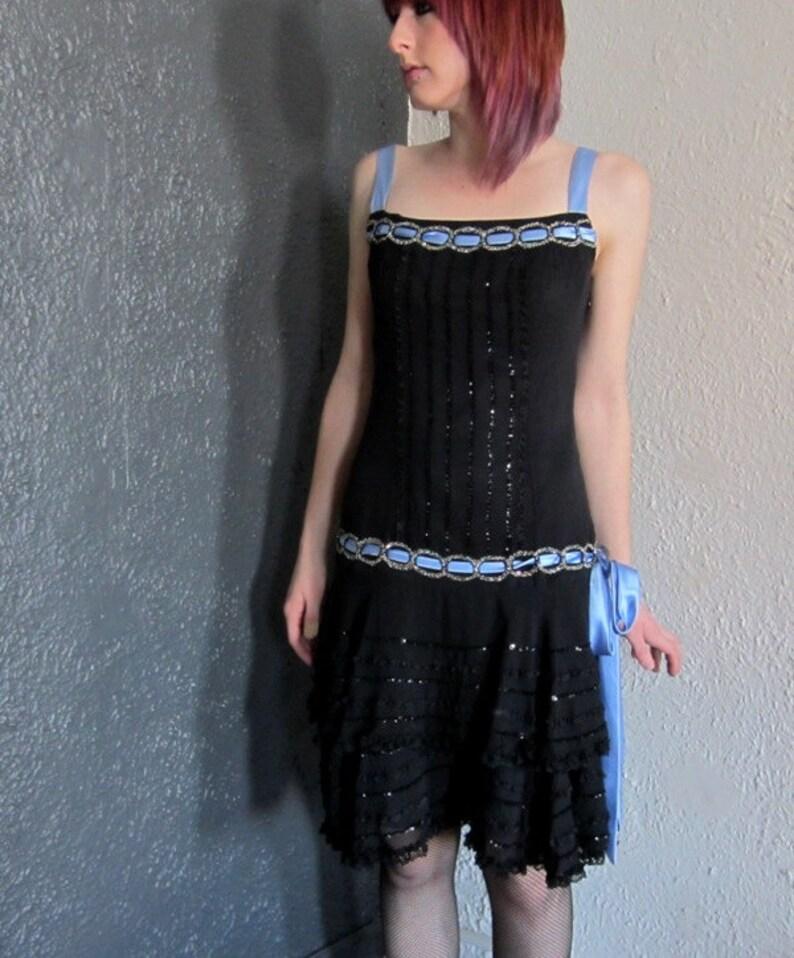 fd915403a9 1920s Inspired Great Gatsby Flapper Dress Terani Black Beaded Prom Formal  Wedding Halloween Costume 6 Free Shipping!