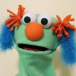Light Green Puppet with Fuzzy Blue Pigtails
