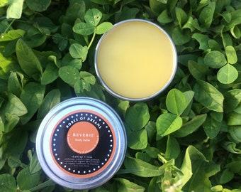 REVERIE - Skullcap + Rose Sensual Body Balm, with vetiver, cardamom, and rose geranium - massage oil, grounding, relaxing