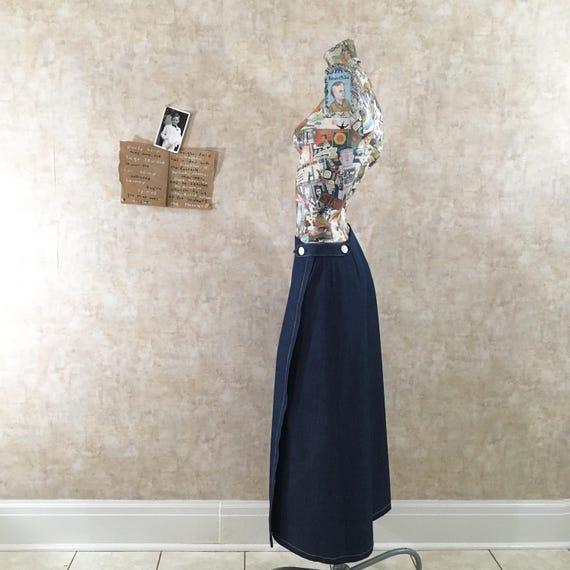 Vintage 70s Denim Maxi Wrap Skirt  medium free shi