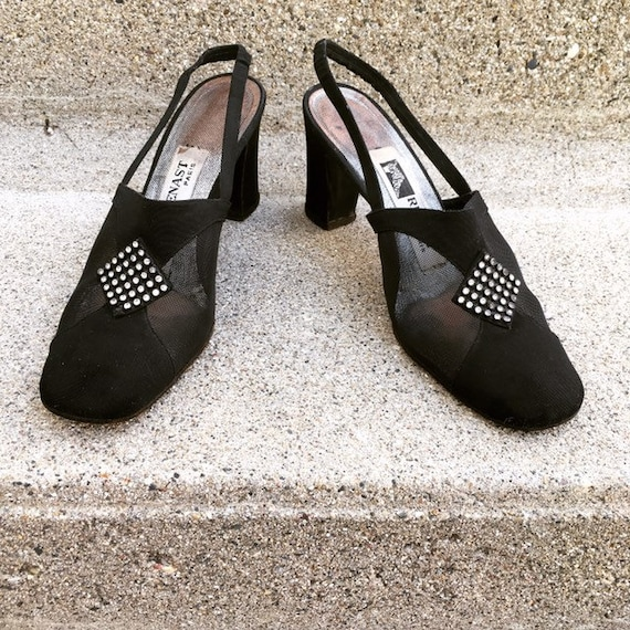 Vintage 40s French Paris Black Suede Leather Mesh… - image 2
