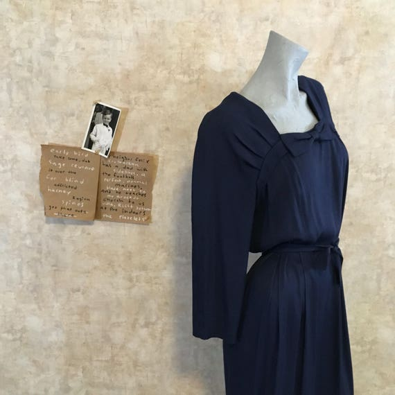 Vintage 80s does 40s Navy Crepe Dress  large extr… - image 2