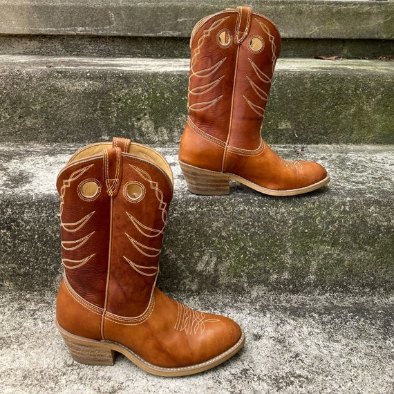 Vintage 70s Chestnut Brown Leather Cowboy Boots si