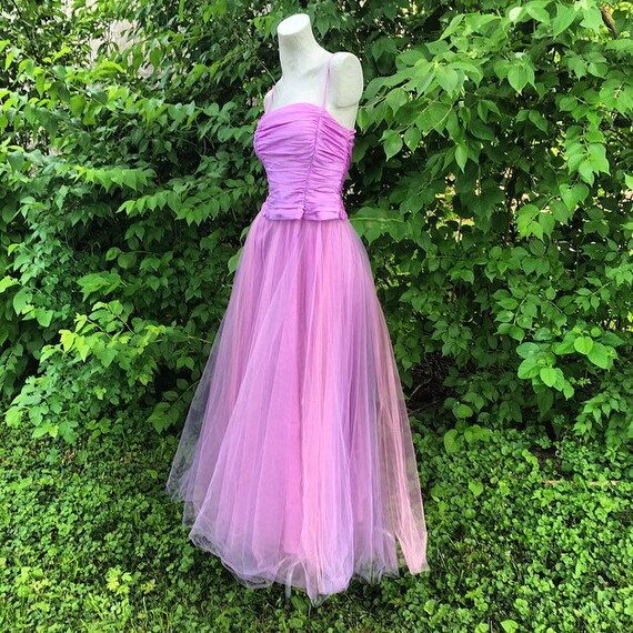 Vintage 50s Style Tulle Dress with Ruched Satin in