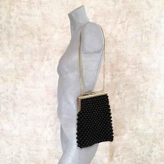 Vintage 60s 70s Italian Crochet Purse Bag with Bla