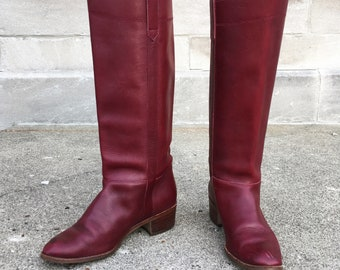 Vintage 80s Oxblood Leather Boots 8b  made in Brazil