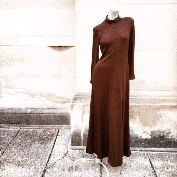 Vintage 60s 70s Milk Chocolate Brown Long Sleeve M