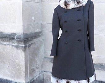 Vintage 60s Mini Gray Wool and Fur Dress and Coat Set  small medium