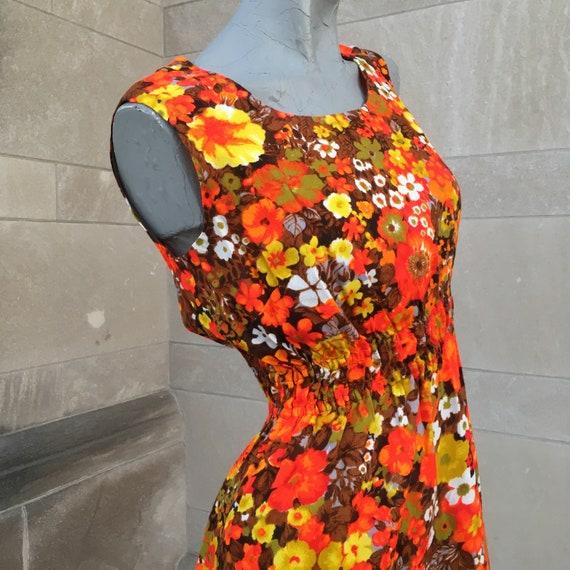 70s Mod Bright Orange Green Yellow Maxi Dress sma… - image 4
