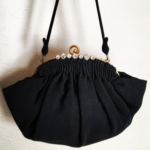 Vintage 30s Black Crepe Purse with Rhinestones