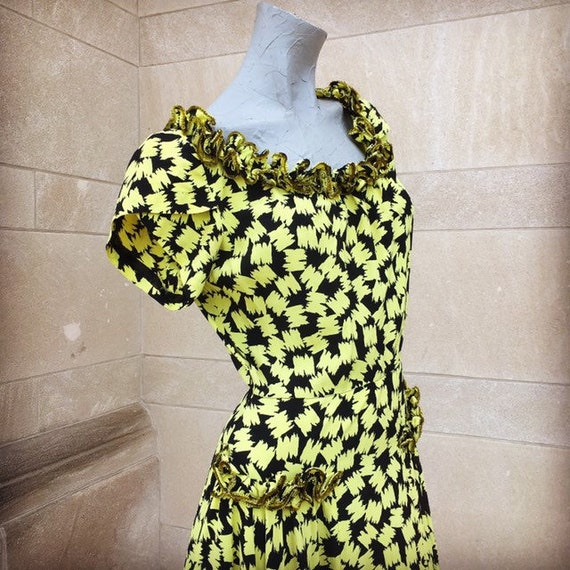 Vintage 30s Yellow and Black Crepe Dress with Sequ
