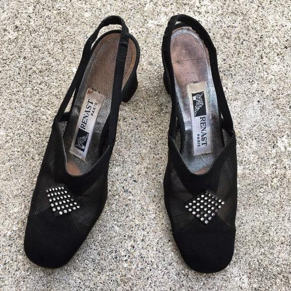 Vintage 40s French Paris Black Suede Leather Mesh… - image 6