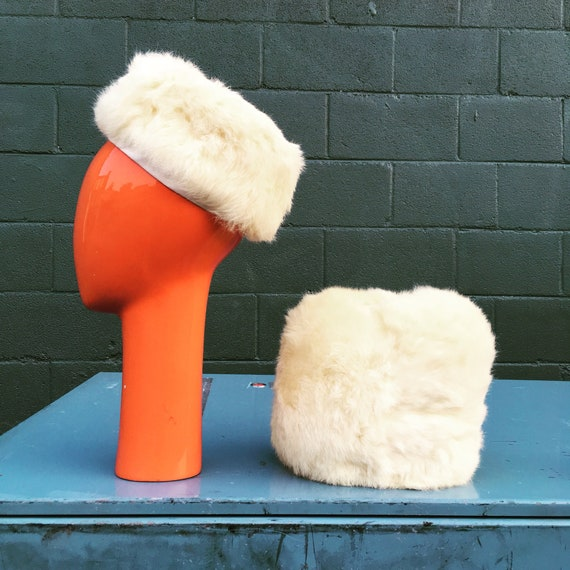 Vintage 60s Rabbit Fur Pillbox Hat and Muff