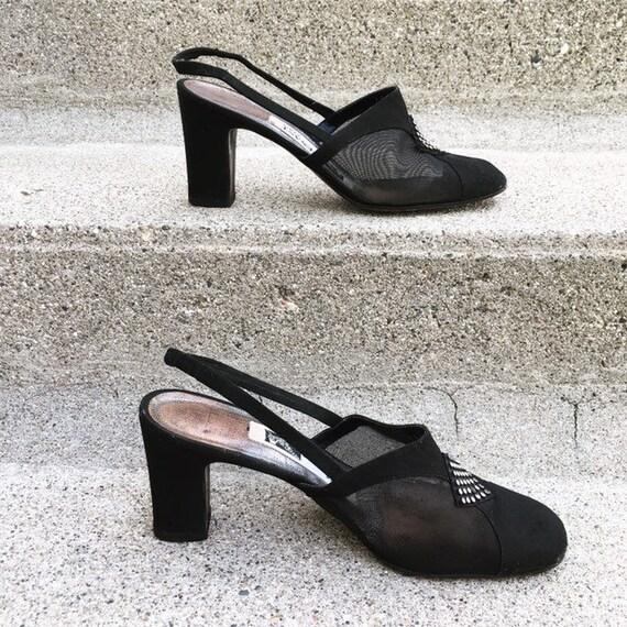 Vintage 40s French Paris Black Suede Leather Mesh… - image 4
