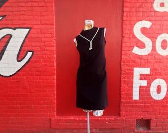 60s Black Shift Dress with Bead Trim