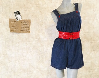 Vintage 70s Denim Romper Shorts  medium  large