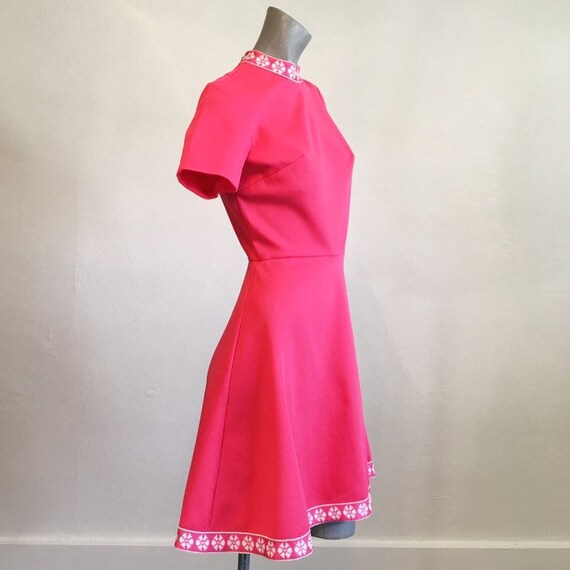 Vintage 60s Hot Pink Circle Skirt Mini Dress  smal